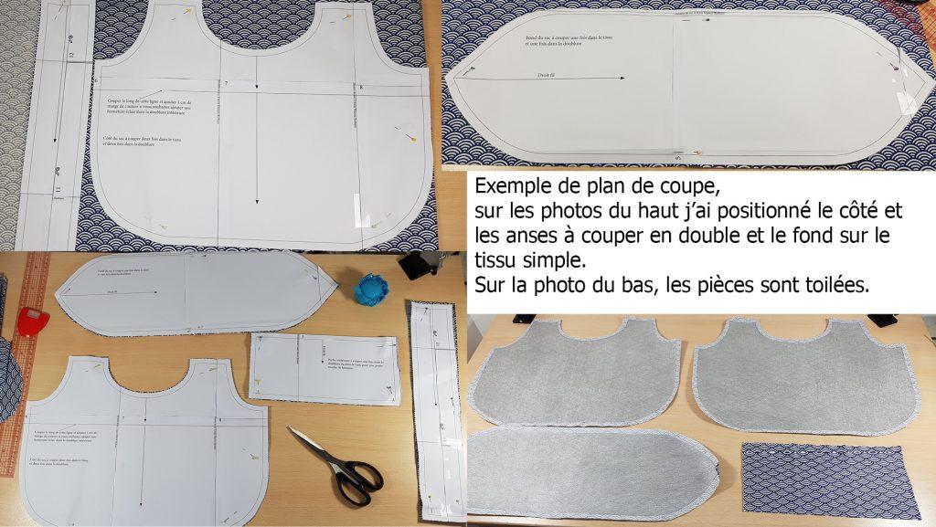 Plan de coupe des pices du patron sur le tissu